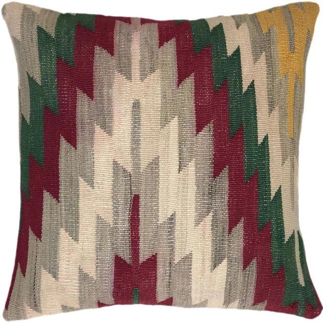 "Mid-Century Modern Dazzling Diamond Vintage Kilim Pillow | 20"" For Sale - Image 3 of 3"