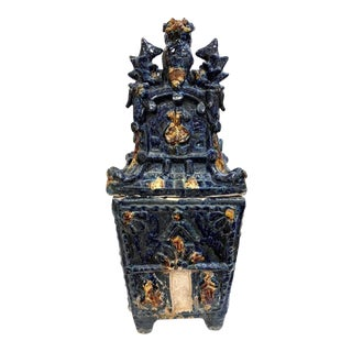20th Century Indigo Concrete Asian Urn With Foo Dog For Sale