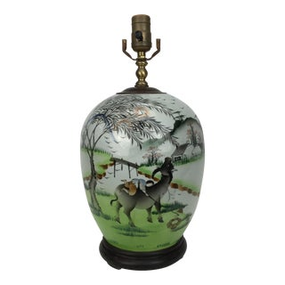 20th Century Chinese Pasture Scene Painted Porcelain Lamp