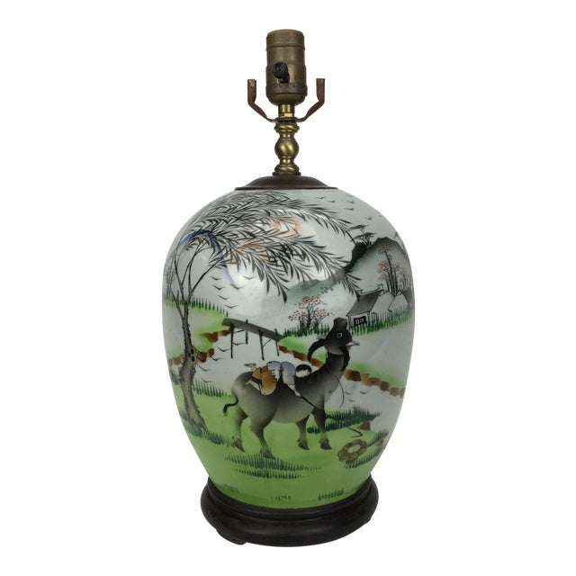 20th Century Chinese Pasture Scene Painted Porcelain Lamp For Sale