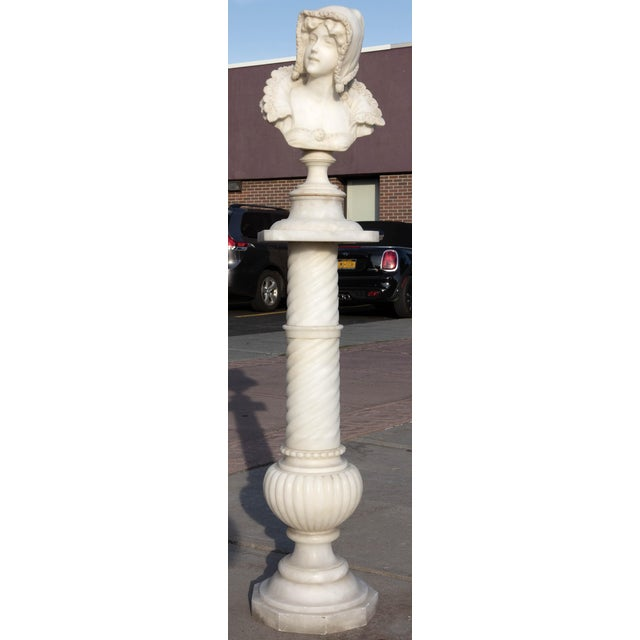 Stone Antique 19th Century Marble Bust With Pedestal For Sale - Image 7 of 7