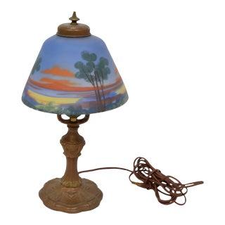 1920's Sunset Scene Shade Bronze Art Deco Desk Lamp For Sale
