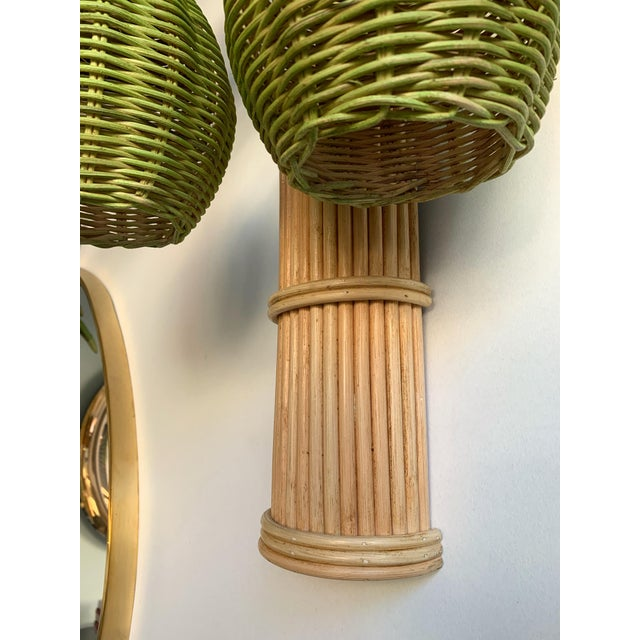Pair of Rattan Palm Tree Sconces. France, 1980s For Sale - Image 6 of 11