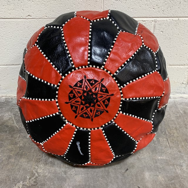 Black & Red Leather Moroccan Pouf For Sale - Image 9 of 9