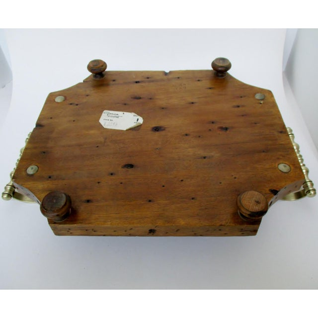 Metal Wood & Brass Serving Tray For Sale - Image 7 of 8