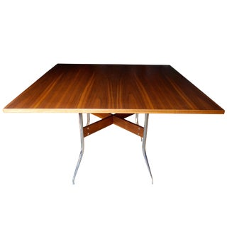 Rare Modern Walnut Square Dining Table by George Nelson for Herman Miller For Sale