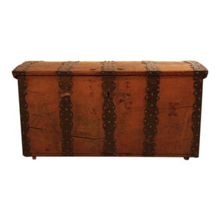 18th Century Oak and Wrought Iron Trunk For Sale