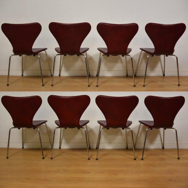 Red Leather and Chrome Dining Chairs - Set of 8 - Image 4 of 11