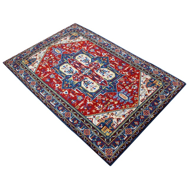 Mid-Century Modern Hand-Knotted Area Rug Carpet Swedish Style Blue Red For Sale In Detroit - Image 6 of 6