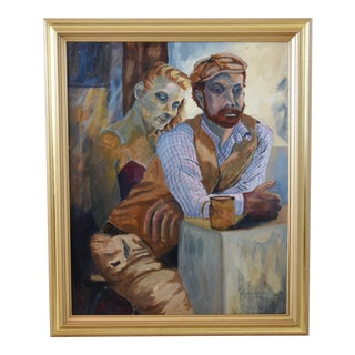 Portrait Oil Painting of Man & Woman in Deep Thought by L. Laubemder with Gold Frame For Sale