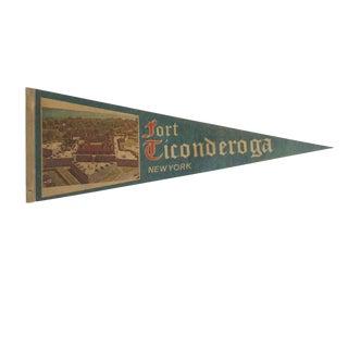 Vintage Fort Ticonderoga New York Felt Flag Pennant For Sale