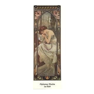 1995 Alphonse Mucha 'La Nuit' Art Nouveau Brown,Neutral Italy Offset Lithograph For Sale