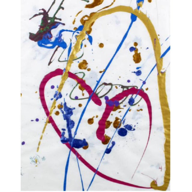 Dale Chihuly Acrylic & Golden Paint on Paper - Image 2 of 2
