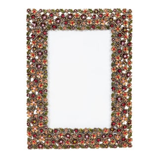 Vintage Flowered Rhinestone Surrounded Picture Frame For Sale