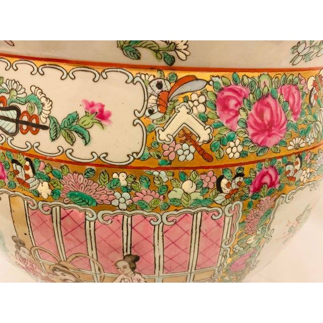 Vintage Chinese Famille Rose Canton Hand Painted Fishbowl Planter For Sale - Image 4 of 10