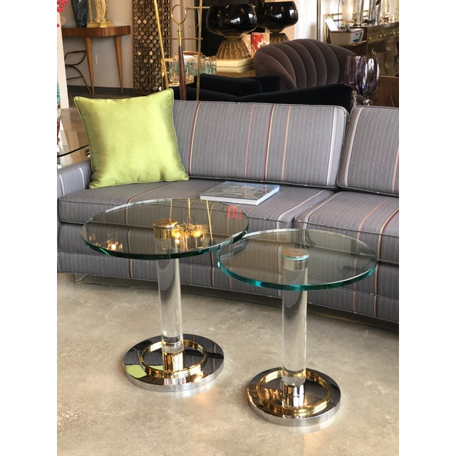 2 Mid Century Modern Lucite, Brass & Chrome Charles Hollis Jones Occasional / Side Tables - Image 9 of 9