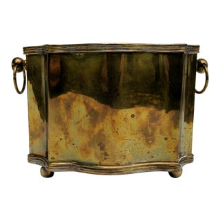 Vintage Hollywood Regency Brass Scalloped Cachepot Planter For Sale