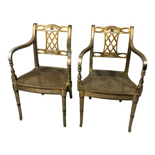 20th Century French Maitland-Smith Cane Seat Chairs in Silver Leaf Finish - a Pair For Sale