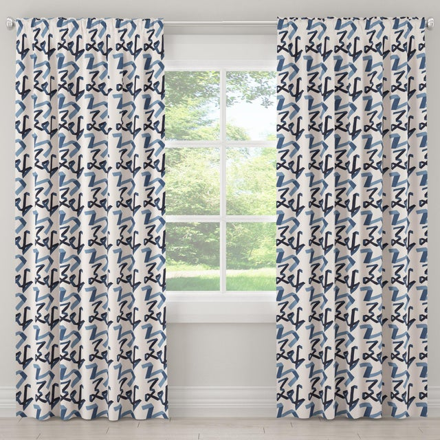 "Contemporary 108"" Blackout Curtain in Navy Ribbon by Angela Chrusciaki Blehm for Chairish For Sale - Image 3 of 7"