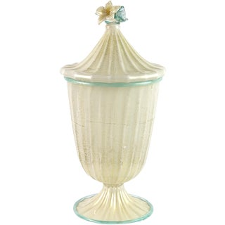 Barovier Toso Murano White Gold Flecks Italian Art Glass Jar Container For Sale