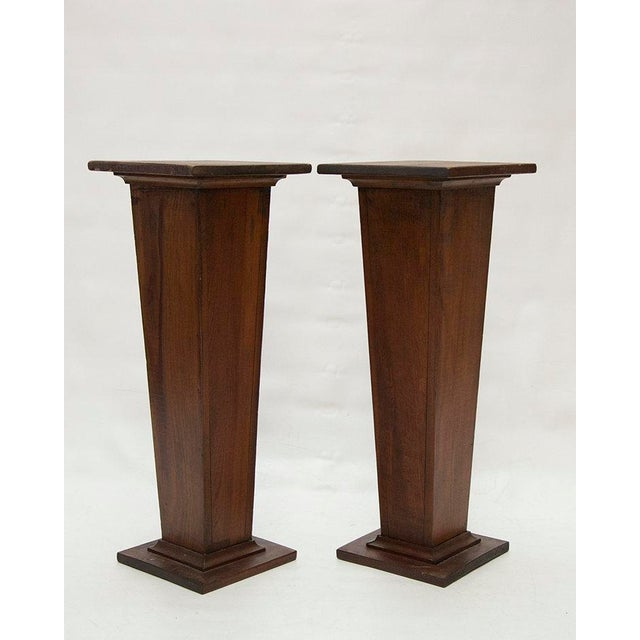 EARLY 1900'S HAND CARVED WOODEN PEDESTALS For Sale - Image 4 of 7