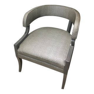 Gray Faux Ostrich Leather Chair For Sale