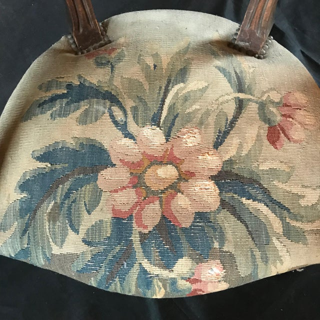 Blue Period French Walnut Louis XVI Antique Carved Tapestry Fauteuils - a Pair For Sale - Image 8 of 9
