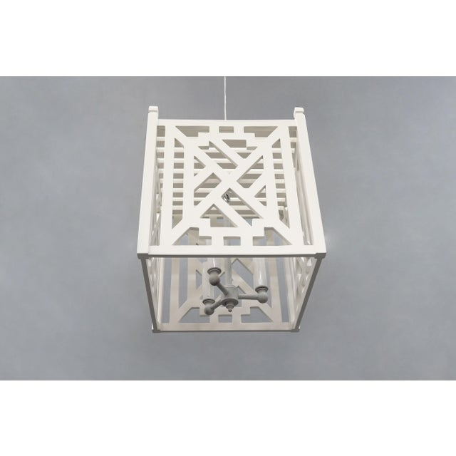 Modern Wood Geometric Brighton White Cube Lantern For Sale In New York - Image 6 of 9