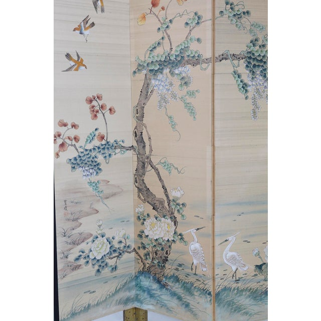 Japanese Four-Panel Floor Silk Screen Landscape With Herons, Circa 1920s For Sale - Image 9 of 13