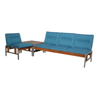 Mid Century Modular Seating Set With End Table For Sale