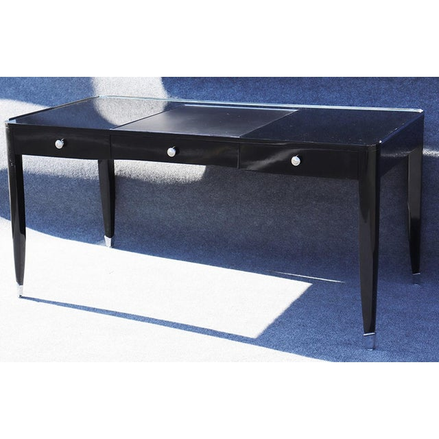 Ralph Lauren One Fifths Paris 3 drawer writing desk with steel accents.