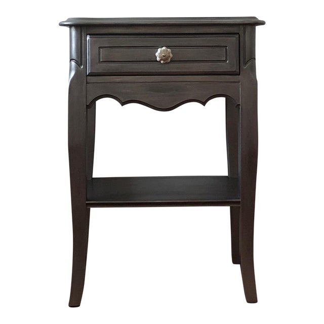 Antique Silver Metallic French Provincial Dainty Nightstand/End Table/Bedside Table For Sale