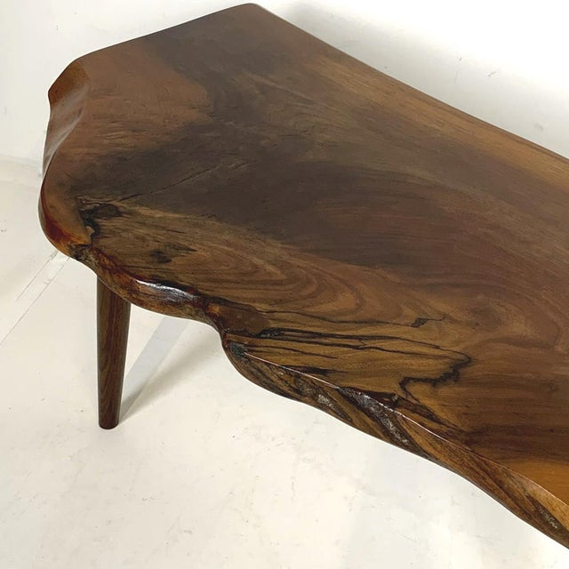 Contemporary Studio Craft Walnut Live Edge Roy Sheldon Tables Signed - Set of 3 For Sale - Image 3 of 13