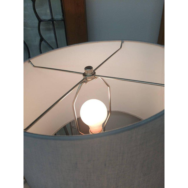 Italian Mid-Century Modern Marble & Chrome Lamps - a Pair For Sale - Image 5 of 6