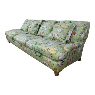Massive 9ft Late 20th C. English Country Garden Sofa in Light Green For Sale