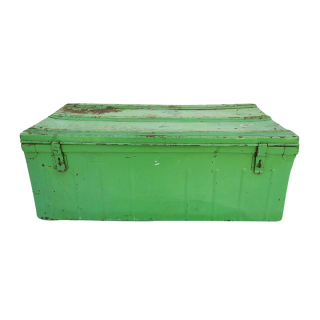 French Metal Industrial Trunk - Image 1 of 4