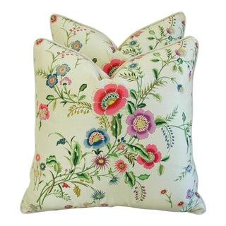 Italian Scalamandre Willowy Blossom Pillows - Pair