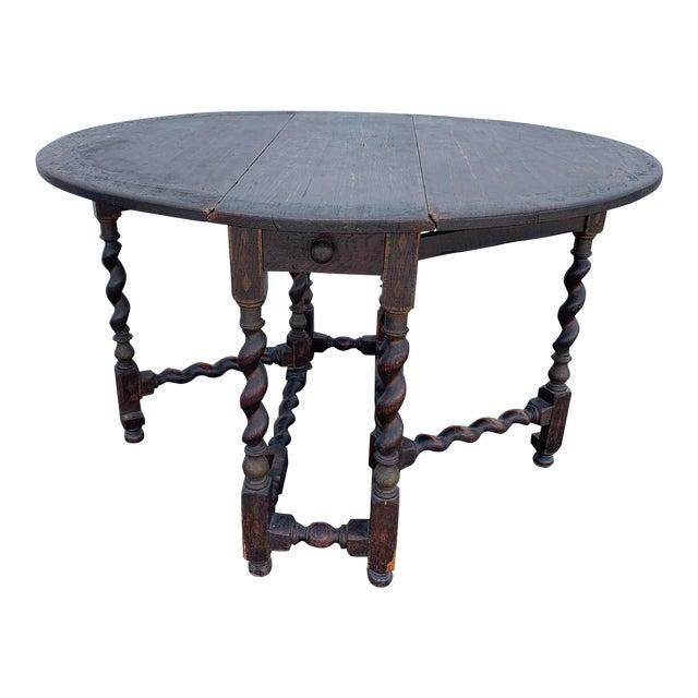 Antique Renaissance Twist Gate Leg Drop Leaf Table For Sale