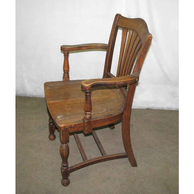 Scalloped Back Banker's Chair For Sale - Image 5 of 9