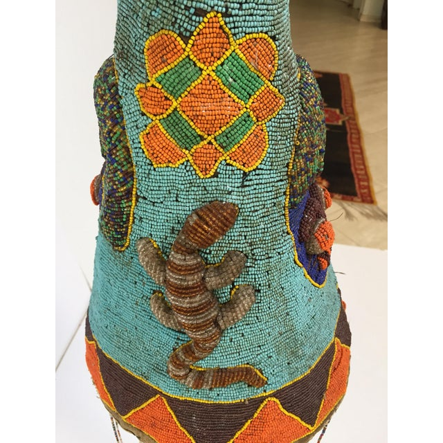 Yoruba Nigeria African Royal Beaded Headdress Crown on Lucite Stand For Sale - Image 9 of 13