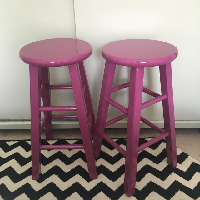 Glossy Mulberry Stools - Pair - Image 3 of 6