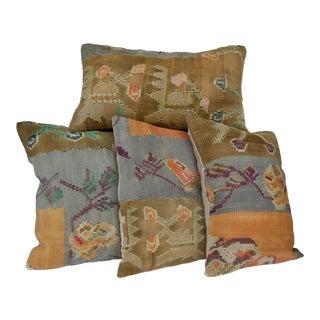 """Vintage Decorative Kilim Pillow Cover Set - 16""""x24"""", 4 Pieces For Sale"""
