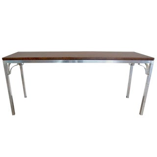 Burled Walnut & Aluminum Console For Sale