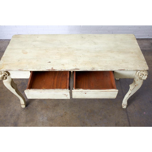 Rustic Italian Lacquered Ram's Head Motif Writing Table For Sale - Image 9 of 13