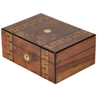 Inlaid Walnut Box From Late 19th Century England For Sale