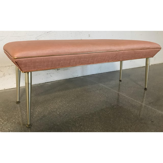 Mid-Century Modern Hollywood Regency Pink & Gold Bench - Image 2 of 7