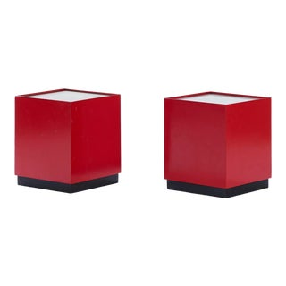 Vintage Midcentury Modern Red and Black Pedestal Lamps Designed by Bill Curry for Design Line - a Pair For Sale