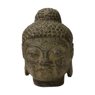 Chinese Oriental Brown Gray Stone Carved Buddha Head Figure
