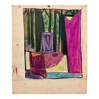 "Donald Stacy ""Forest Through the Window"" C.1950s Oil Pastel & Gouache Mid Century Landscape For Sale"
