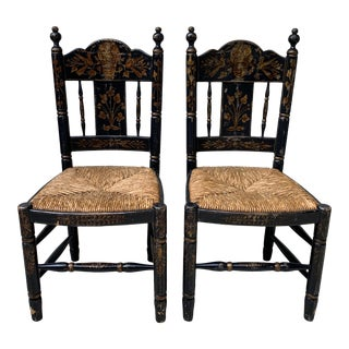 English Traditional Ladder Back Rush Seat Hand-Painted Chairs - a Pair For Sale